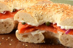 Smoked salmon with cream cheese,